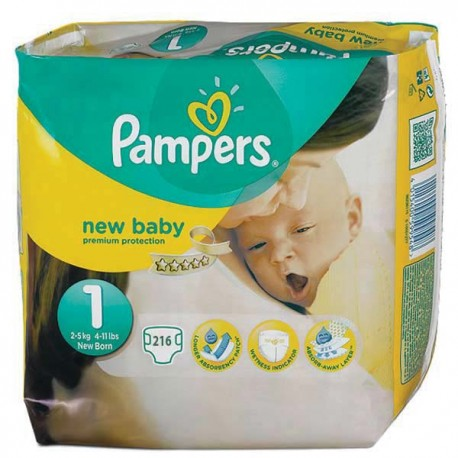 Pack jumeaux 504 Couches Pampers New Baby Premium Protection taille 1 sur 123 Couches