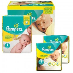 Pack jumeaux 576 Couches Pampers New Baby Premium Protection taille 1