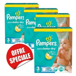 Pack jumeaux 748 Couches Pampers Active Baby Dry taille 3