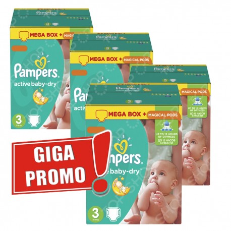 Pack jumeaux 952 Couches Pampers Active Baby Dry taille 3 sur 123 Couches
