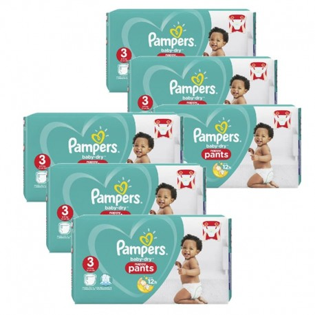 Giga pack 286 Couches Pampers Baby Dry Pants taille 3 sur 123 Couches