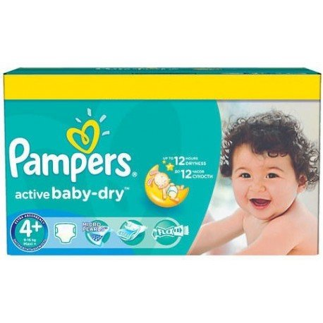 Pack jumeaux 600 Couches Pampers Active Baby Dry taille 4+ sur 123 Couches
