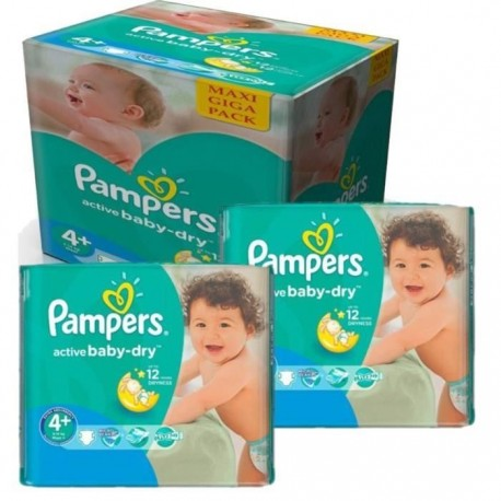 Pack jumeaux 640 Couches Pampers Active Baby Dry taille 4+ sur 123 Couches