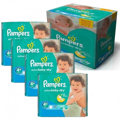 Pack jumeaux 680 Couches Pampers Active Baby Dry taille 4+ sur 123 Couches