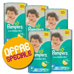 Pack jumeaux 800 Couches Pampers Active Baby Dry taille 4+ sur 123 Couches