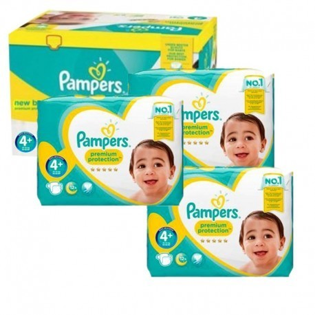 Maxi giga pack 357 Couches Pampers New Baby Premium Protection taille 4+ sur 123 Couches