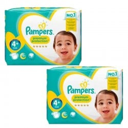 Pack jumeaux 504 Couches Pampers New Baby Premium Protection taille 4+ sur 123 Couches