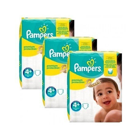 Pack jumeaux 525 Couches Pampers New Baby Premium Protection taille 4+ sur 123 Couches