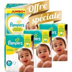 Pack jumeaux 567 Couches Pampers New Baby Premium Protection taille 4+