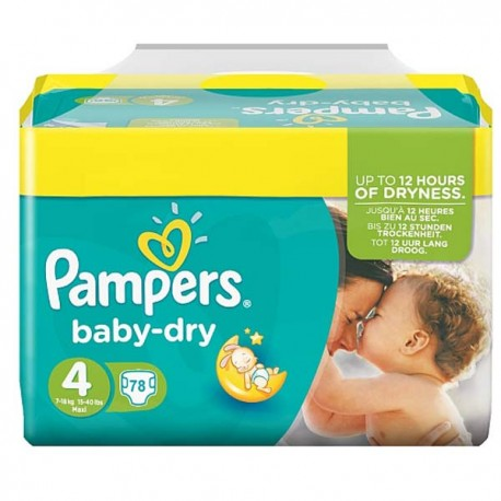 Pack 34 Couches Pampers Baby Dry taille 4 sur 123 Couches