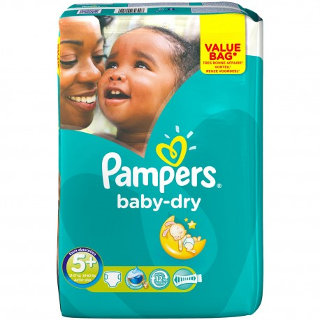 Pack 22 Couches Pampers Baby Dry taille 5+ sur 123 Couches