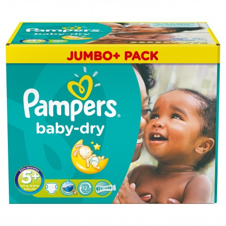 Mega pack 198 Couches Pampers Baby Dry taille 5+ sur 123 Couches