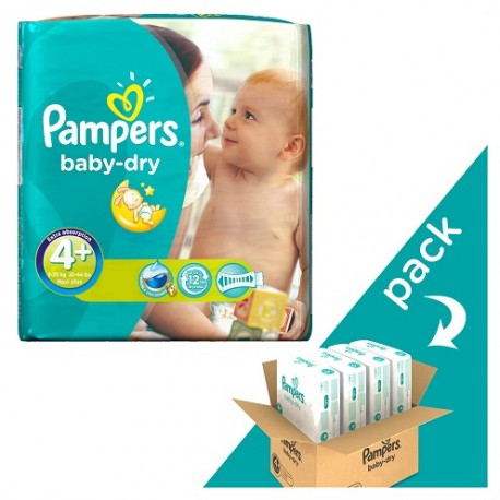 Pack jumeaux 640 Couches Pampers Baby Dry taille 4+ sur 123 Couches