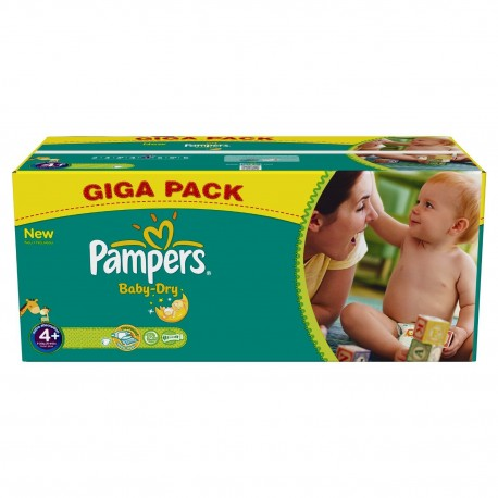 Pack jumeaux 720 Couches Pampers Baby Dry taille 4+ sur 123 Couches