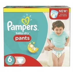 Mega pack 140 Couches Pampers Baby Dry Pants taille 6 sur 123 Couches