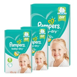Mega pack 100 Couches Pampers Baby Dry taille 8 sur 123 Couches