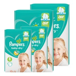 Giga pack 200 Couches Pampers Baby Dry taille 8 sur 123 Couches