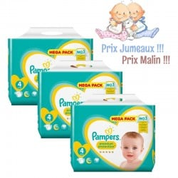 Pack jumeaux 512 Couches Pampers New Baby Premium Protection taille 4 sur 123 Couches