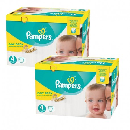 Pack jumeaux 576 Couches Pampers New Baby Premium Protection taille 4 sur 123 Couches