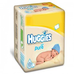 Pack d'une quantité de 384 Lingettes Bébés Huggies de la gamme Pure - 6 Packs de 64