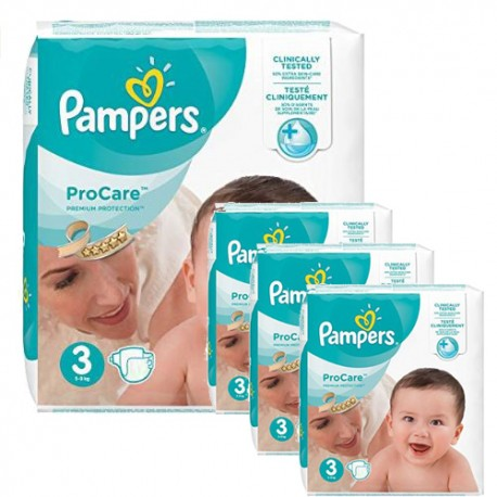 Pack jumeaux 512 Couches Pampers ProCare Premium protection taille 3 sur 123 Couches