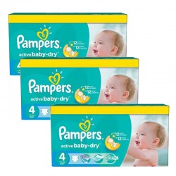 Pack 91 Couches Pampers Active Baby Dry taille 4