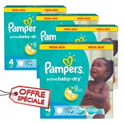 Mega pack 104 Couches Pampers Active Baby Dry taille 4 sur 123 Couches