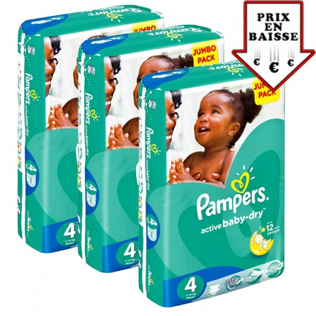 130 Couches Pampers Active Baby Dry taille 4 sur 123 Couches