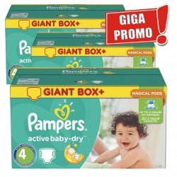Giga pack 221 Couches Pampers Active Baby Dry taille 4 sur 123 Couches