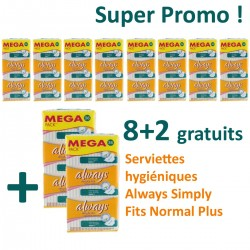 Maxi Pack 360 Serviettes hygiéniques Always Simply Fits - 10 Packs de 36 Serviettes hygiéniques taille normal plus sur 123 Couches