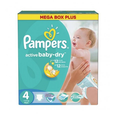 325 Couches Pampers Active Baby Dry taille 4 sur 123 Couches