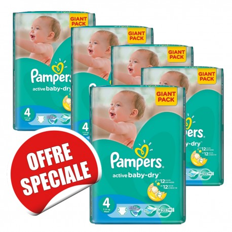 Maxi mega pack 455 Couches Pampers Active Baby Dry taille 4 sur 123 Couches
