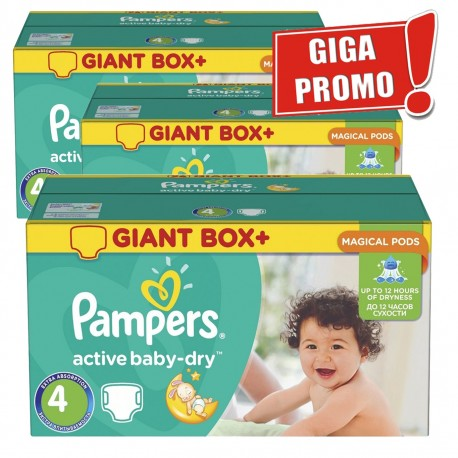 Pack jumeaux 598 Couches Pampers Active Baby Dry taille 4 sur 123 Couches