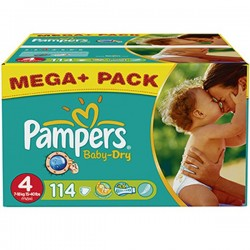 Pack de 114 Couches Pampers Baby Dry de taille 4 sur 123 Couches
