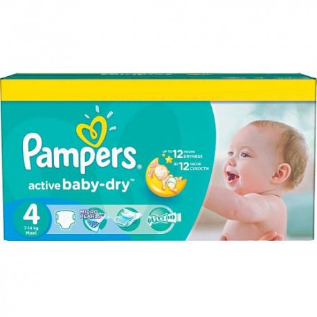 624 Couches Pampers Active Baby Dry taille 4 sur 123 Couches