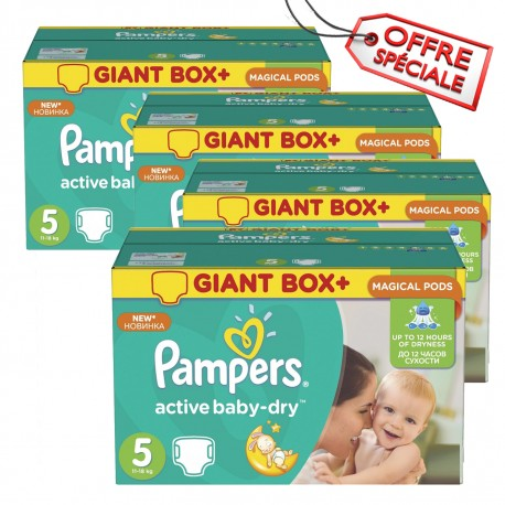 110 Couches Pampers Active Baby Dry taille 5 sur 123 Couches