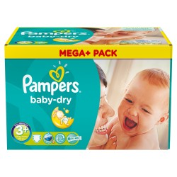 Pack économique d'une quantité de 306 Couches de Pampers Baby Dry taille 3+ sur 123 Couches