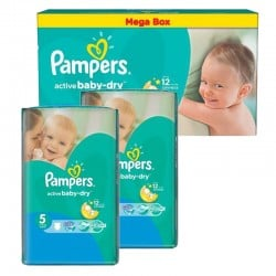 Mega pack 165 Couches Pampers Active Baby Dry taille 5 sur 123 Couches
