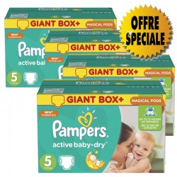 Giga pack 253 Couches Pampers Active Baby Dry taille 5 sur 123 Couches