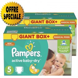 Maxi giga pack 341 Couches Pampers Active Baby Dry taille 5 sur 123 Couches