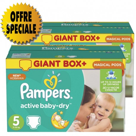 341 Couches Pampers Active Baby Dry taille 5 sur 123 Couches