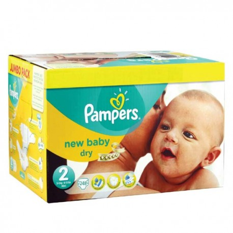 Pack jumeaux 738 Couches Pampers New Baby Premium Protection taille 2 sur 123 Couches