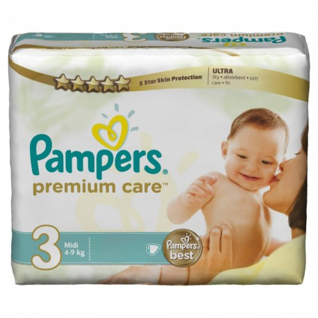 Pack 40 Couches Pampers Premium Care taille 3 sur 123 Couches