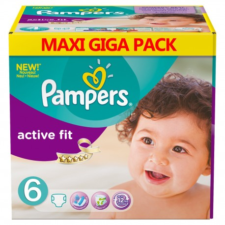 Mega pack 128 Couches Pampers Active Fit taille 6 sur 123 Couches