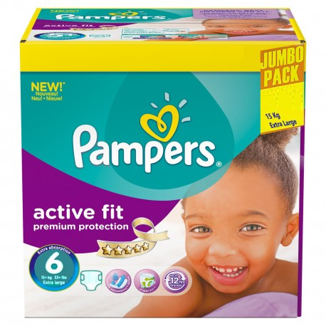 Giga pack 256 Couches Pampers Active Fit taille 6 sur 123 Couches