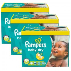 Maxi giga pack 375 Couches Pampers Baby Dry taille 5+ sur 123 Couches