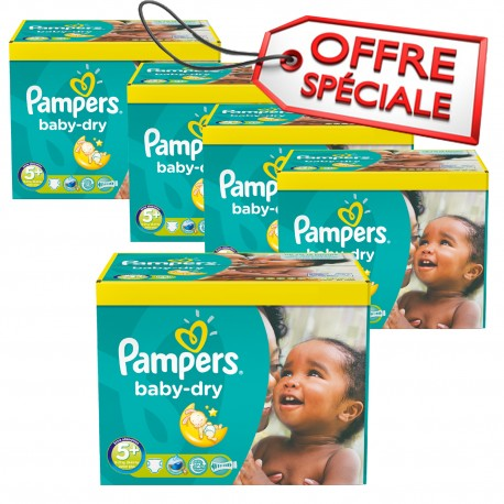 Pack 75 Couches Pampers Baby Dry taille 5+ sur 123 Couches
