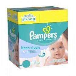 Pack 384 Lingettes Bébés Pampers de la gamme Fresh Clean - 6 Packs de 64 sur 123 Couches