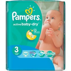 Pack 68 Couches Pampers Active Baby Dry taille 3 sur 123 Couches