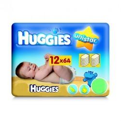 Pack économique de 768 Lingettes Bébés Huggies Unistar - 12 Packs de 64 sur 123 Couches